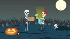 Cartoon animation, give gifts on Halloween, Stock Footage
