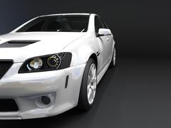 Sports car front view. The image of a sports white car on a black background - stock illustration
