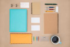 Mock up template of stationary in everyday life Stock Photos