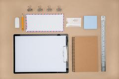 Office Supply of stationary in everyday life,  Plan work Stock Photos