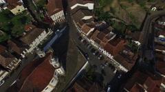 Aerial View of Igreja Nossa Senhora do Rosario dos Pretos Church Stock Footage