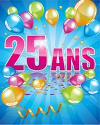 French birthday card 25 years - stock illustration