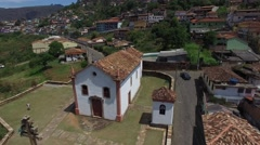 Aerial View of Capela do Padre Faria, Ouro Preto, Minas Gerais Stock Footage