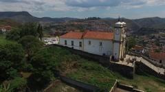 Aerial View of Igreja Matriz de Santa Efigenia, Ouro Preto, Brazil Stock Footage