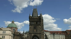 Old Town Bridge Tower and St Salvator Church in Prague Stock Footage