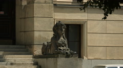Sphinx statue at the entrance to the Rodolfinum Concert Hall, Prague Stock Footage