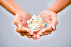 Concept of hope, Lottery in your hand. - stock photo