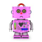 Unhappy pink toy robot girl looking into camera - stock illustration