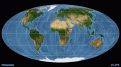 Animated world map in the Mollweide projection. Blue Marble raster. Stock Footage