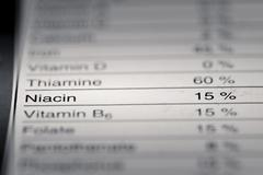 Shallow depth of Field image of Nutrition Facts Stock Photos