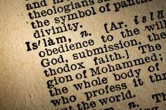 Close-up of the word ISLAM and its definition - stock photo