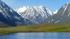 Stock Video Footage of mountain landscape with lake in Altay, Russia
