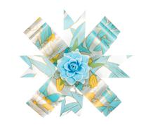 Blue and yellow ribbon bow with flower isolated on white - stock photo