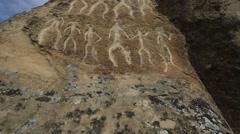 Historical petrographs. Carvings dating back 10 000 BC in Gobustan,Azerbaijan  Stock Footage