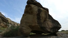 Historical petrographs. Carvings dating back 10 000 BC in Gobustan,Azerbaijan  - stock footage