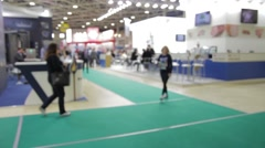 Business people at the trade fair Stock Footage