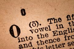 Close-up of a O, the 15th Letter of the Latin Alphabet - stock photo