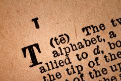 Close-up of a T, the 20th Letter of the Latin Alphabet - stock photo