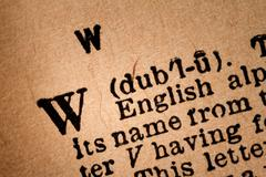 Close-up of a W, the 23th Letter of the Latin Alphabet Stock Photos