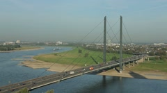 Bridge over the Rhine in Duesseldorf Stock Footage