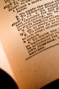 Close-up of an Opened Dictionary showing the Word Study Stock Photos