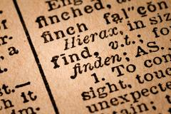 Close-up of an Opened Dictionary showing the Word FIND - stock photo