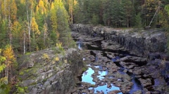Panorama of forest canyon of Suna river Stock Footage