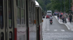 Tram crossing the Legion Bridge in Prague Stock Footage