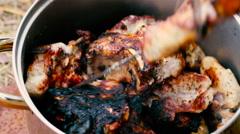 Grilled pork kebab meat Stock Footage