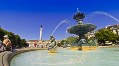 Baroque fountain on Rossio square in Lisbon city, Portugal (Time Lapse) Stock Footage