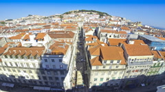 Panoramic aerial view of Lisbon city, Portugal Stock Footage