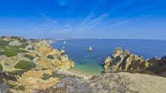 Beautiful beach Praia do Camilo, Lagos, Algarve region, Portugal Stock Footage