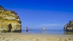Praia do Camilo beach in Lagos, Algarve, Portugal Stock Footage