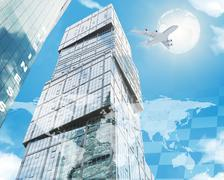 World map with jet and skyscraper Stock Illustration