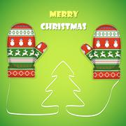 Christmas postcard vector illustration. - stock illustration