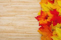 Autumn Leaves and Weather Wood Background Stock Photos