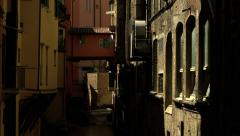 The river flows through the Italian old town Stock Footage