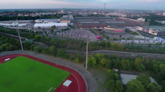 Running track and a park in a huge city Stock Footage