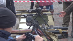 The exhibition in the town square of weapons Stock Footage
