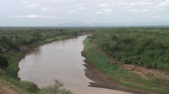 View of Omo river Africa. Stock Footage