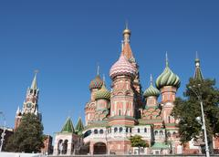 Saint Basil Cathedral and Vasilevsky Descent of Red Square in a Moscow Kremli Stock Photos