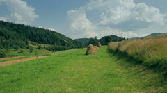 Ordinary Carpathian landscape with haystacks Stock Footage