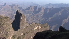Simien Mountains landscape in the afternoon Stock Footage