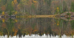 Fall reflections, autumn colors reflected in lake Stock Footage