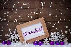Purple Christmas Decoration, Snow, Danke Mean Thanks, Snwoflake Stock Photos