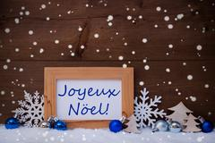 Blue Decoration, Snow, Joyeux Noel Mean Christmas, Snowflakes Stock Photos