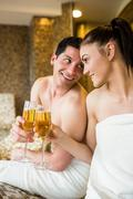 Stock Photo of Couple relaxing in the thermal suite