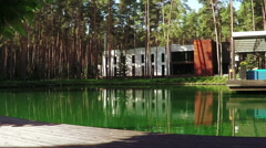 Pond in recreation area Stock Footage