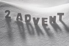 White Word 2 Advent Means Christmas Time On Snow Stock Photos