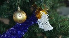White christmas baubles hanging Stock Footage
